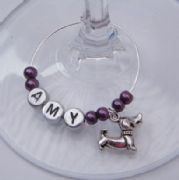 Sausage Dog Personalised Wine Glass Charm